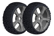 Team Corally Off-Road 1/8 Buggy Tires Ninja Low Profile Glued on Black Rims (2)
