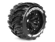 Louise 1:8 3.8 Inch Monster Tire MT-Cyclone Mounted On Black Wheel - 1:2 Offset - Sport (2)