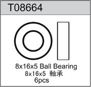 TeamC 8x16x5mm Rubber Sealed Ball Bearing (6)