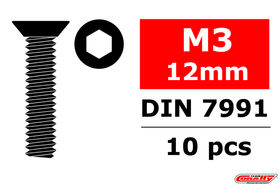 Team Corally Steel Screws M3 x 12mm Hex Flat Head (10)