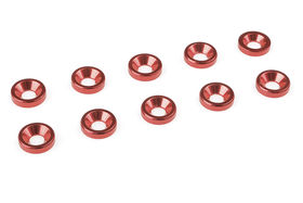 Team Corally Aluminium Washer for M3 Flat Head Screws OD=8mm Red (10)
