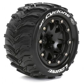 Louise Tires & Wheels MT-CYCLONE 1/10 Black Beadlock (1/2) Soft MFT