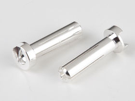 TQ Racing 4x18mm Low Profile Male Bullet - Silver (2)