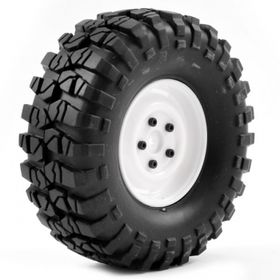 "FTX Outback 1.9"" Pre-mounted Steel Lug/tyre (2) - White"