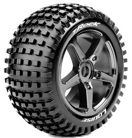 Louise RC - T-Rock 1/8 Truggy Tire - Mounted - Soft - Black-Chrome Spoke Wheels - Hex 17